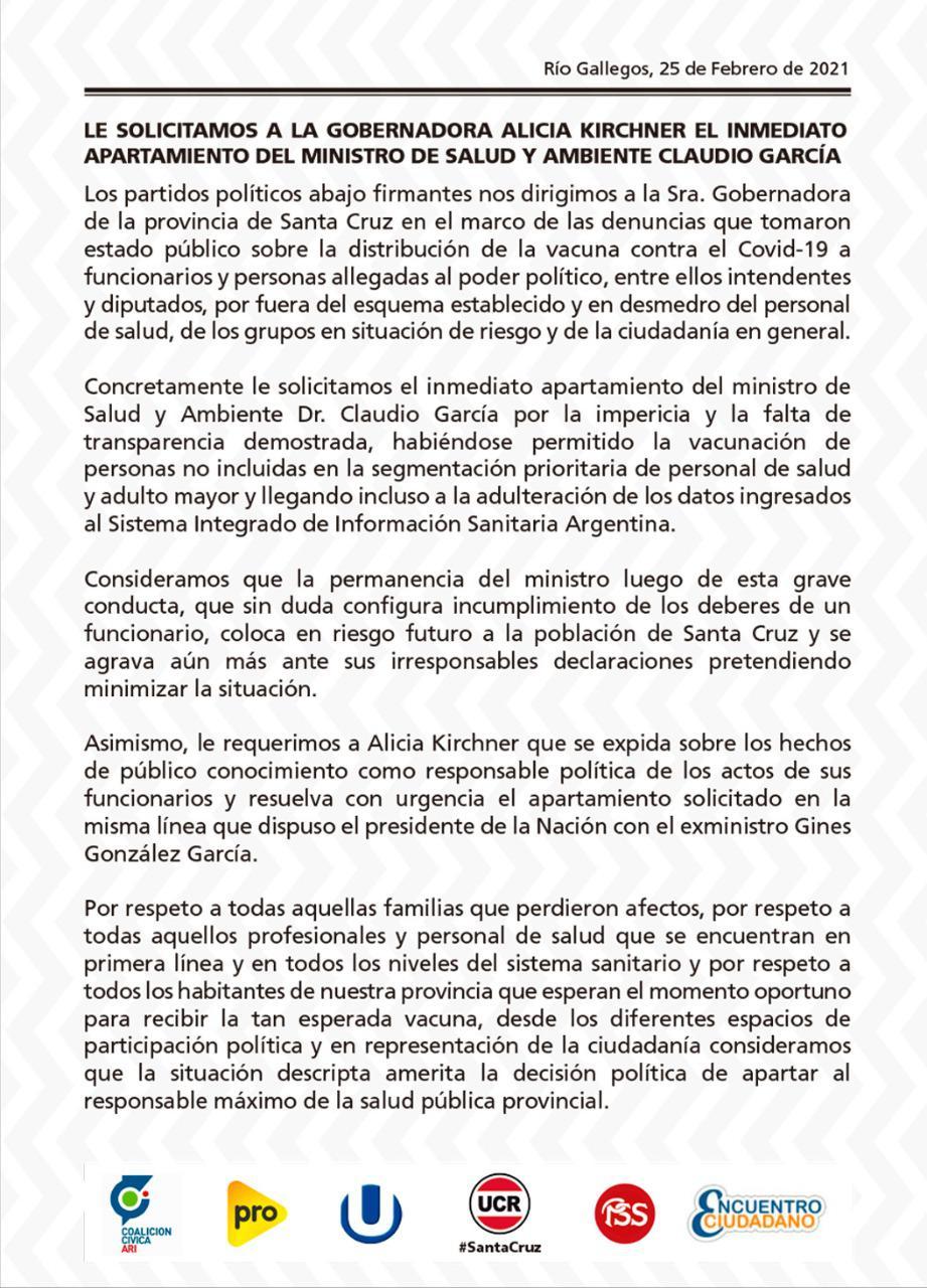 Comunicado Oposiciòn Santa Cruz